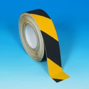 Ruban antidérapant abrasif strié noir et jaune